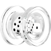 0 Gauge Clear Acrylic White Throw the Dice Saddle Plug