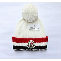 """MONCLER"" Autumn Winter Popular Women Men Knit Hat Warm Cap White"