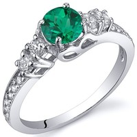 Simulated Emerald Solstice Ring Sterling Silver Size 6
