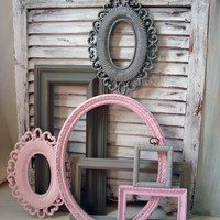 Pink and Gray Vintage Frame and Mirror Set, Shabby Chic Set of  7 Frames, Oval Ornate Frame, Open Frame Gallery, Girls Nursery Decor