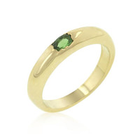 Green Oval Simple Ring, size : 08