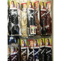 Xpression Jumbo Braiding Hair Pre Stretched Box Twist Braids Synthetic Hair Extensions For Black Women
