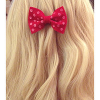 Red Hand Dotted Polka Dot Hair Bow Brilliant Apple Red Color FREE SHIPPING