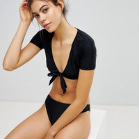 Missguided Tie Front Bikini at asos.com