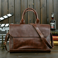 Men's Leather Briefcase Laptop Bag Crossbody Shoulder Handbag