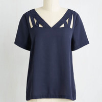 Minimal Mid-length Short Sleeves Peek of Chic Top