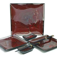 Maroon Cherry Blossom Sushi Serving Set for Two - Dine in Style