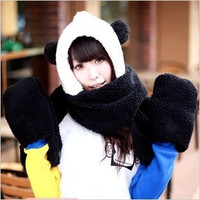 Winter Cute Panda Warm Hooded Cap Earflap Lady Lamb Plush Wrap Scarf Hat Gloves White&Black Three-piece Suit