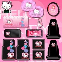 Hello Kitty Sanrio Hearts Design 13pc Combo Set Front & Rear Floor Mats Seat Covers Steering Wheel Cover Cd Visor Organizer License Plate Frame & Keychain Windshield and Side Window Sunshades
