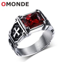 OMONDE Men's Fashion Jewelry Jesus Crucifix Christian Cross Ring with Red Stone God Bless Lucky Rings for Man Nice Gift
