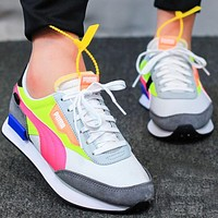 PUMA FUTURE RIDER PLAY ON Retro contrast color casual shoes running shoes Fluorescent green