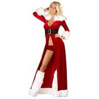Sexy Deluxe Mrs Claus Velvet Robe Set