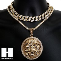 Hip Hop Premium Round Meusa Miami Cuban Choker Tennis Chain Necklace J