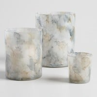 Gray Watercolor Glass Hurricane Candleholder