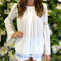SZ LARGE Florence White Lace Bell Sleeve Top