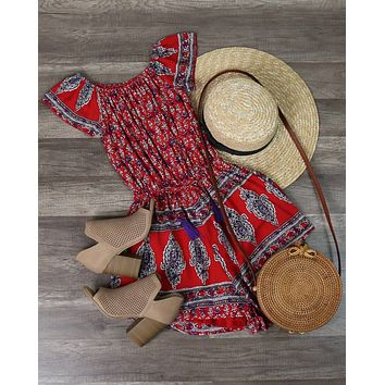 Final Sale - Reverse - Strapless Off The Shoulder Boho Print Romper in Red