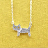Jasper Brushed Silver Cat Pendant Necklace with Chain