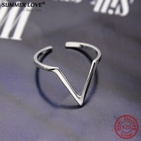 """Geometric Triangle Resizable Rings Authentic 925 Sterling Silver Open """"V"""" Ring For Women Fine Jewelry sterling-silver-jewelry"""