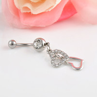 High Quality Dangle Double Heart Rhinestone Belly Button Ring