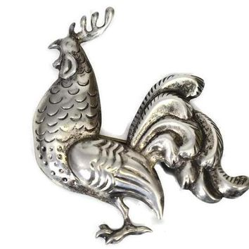 Sterling Silver Lang Rooster Brooch Vintage Country Style