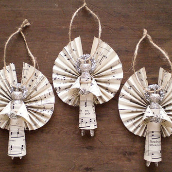 Clothespin Angels - Handmade Ornaments made with Vintage Sheet Music - Set of 3