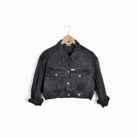 Vintage Guess Cropped Jean Jacket in Faded Gray - small/medium