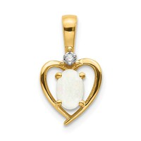 10k Yellow Gold Diamond & Genuine Opal Heart Pendant