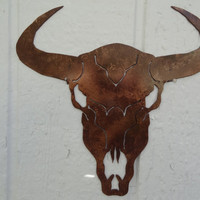 """Cow Skull Solid Metal Wall Art 25"""" w x 25""""L Antique Copper Country Rustic Home Decor"""