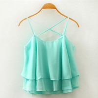 Blue Cross Straps Layered Chiffon Tank Top