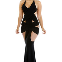 Black V-Neck Strappy Backless Cut-Out Fishtail Dress