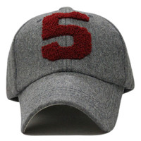 Gray Woolen Cap With Number Patch