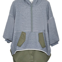 Gray Drop Shoulder Split Side Paneled Hoodie
