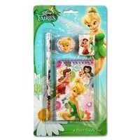 Disney Fairies Tinkerbell 4 Piece Personalized Study Kit/stationery Set, School Supplies with 1 Note Pad, 1Pencil, 1 Eraser & 1 Sharpener