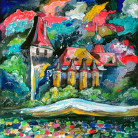 An Original Acrylic Impressionistic Hungarian Budapest Landscape Painting on Mirror by Kelli Gedvil! 30 x 30 cm (11,8 x 11,8 inches)