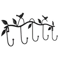 CNIM Hot Iron Birds Leaves Hat Towel Coat Wall Decor Clothes Hangers Racks With 5 Hooks Black