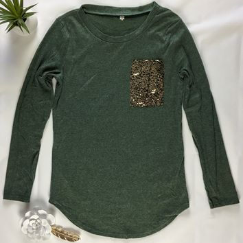 Olive Green Sequin Pocket Tee