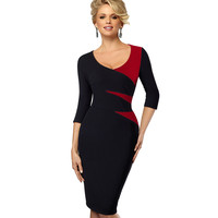 Spring Autumn Women Casual Office Business Colorblock Contrast Patchwork Tunic Fitted Bodycon Pencil