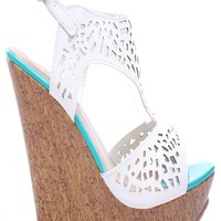 WHITE FAUX LEATHER CUTOUTS OPEN TOE SLING STRAP PLATFORM WEDGE
