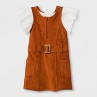 Toddler Girls' 2pc Jersey and Eyelet Short Sleeve Set - Genuine Kids® from OshKosh Almond Cream/Brown