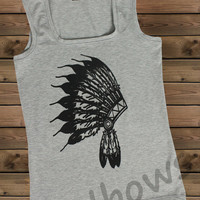 Women's Tank,İndian on a Tank Top Ladies Tank,Screen Printing Tank,Women's Tank,Gray Tank,Size S, M, L