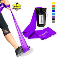 Super Exercise Band 7 ft. Long Resistance Bands. Flat Latex Free Home Gym Fitness Equipment For Physical Therapy Pilates Stretch Yoga Strength Training Workout. In Light Medium or Heavy Tension. HEAVY STRENGTH PURPLE