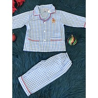 New Christmas Sweet Dreams Cotton Blue Plaid Ginger Bread Pajamas CH