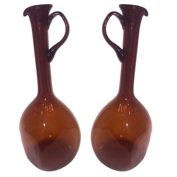 Mid Century Modern Amber Glass Square Pitchers Set of Two Xtra Tall