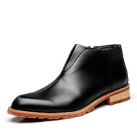 Round Toe Genuine Leather Zip Office Shoes