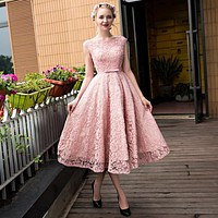 New arrival formal  party evening dresses Vestido de Festa lace-up long gown lace beads tea-length style dress free shipping