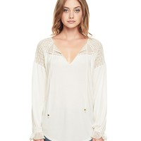 Smocked Mixed Fabric Top by Juicy Couture,