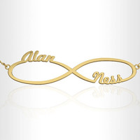 Infinity Necklace -Personalized jewelry 14K gold , initial necklace, name necklace