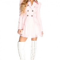 Pink Double Breasted Tulle Pea Coat