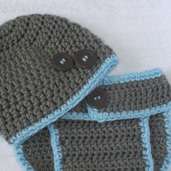 Baby Boy Diaper Cover Set in Grey  and Blue, Crochet Diaper Cover, Diaper Cover and Hat Set, Photo Prop