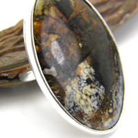 Statement large agate silver ring, Brown large gemstone sterling silver ring, handmade big stone ring, artisan rustic jewelry, ring size 7